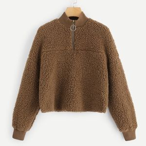 Cropped Faux Sherling Fur Teddy Pullover Zip XS